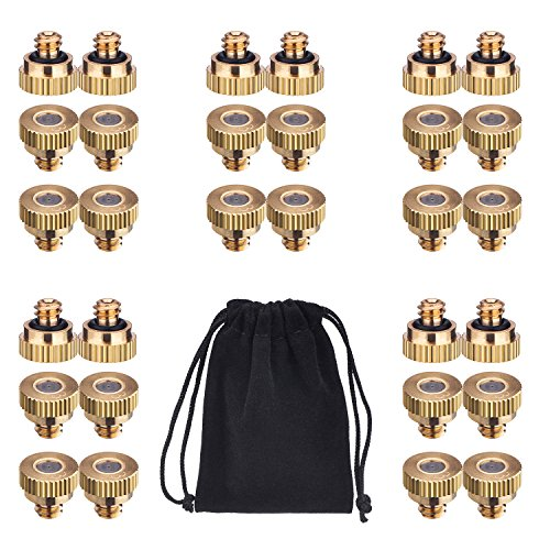 Mudder 30 Pack Brass Misting Nozzles for Greenhouse Landscaping Dust Control and Outdoor Cooling System, 10/ 24 UNC