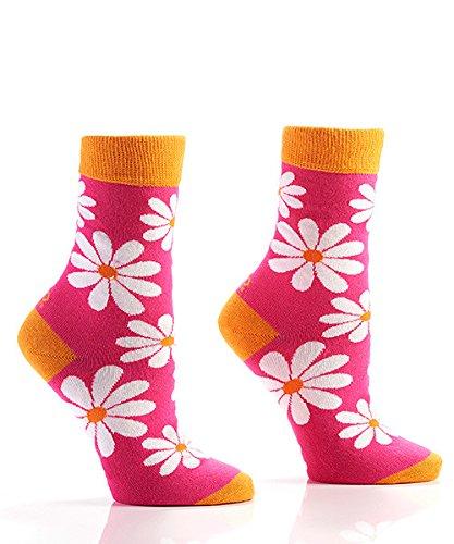 Yo Sox White Daisy Funky Women's Crew Socks for Dress or Casual Wear Size 5-10