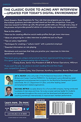 great answers great questions for your job interview 2nd edition jay a block michael betrus 9780071837743 amazoncom books - Interview Checklist For Employer Interview Checklist And Guide For Employers