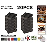 Ace Punch 20 Pack Wedge Acoustic Foam Panel DIY Design Studio Soundproofing Wall Tiles Sound Insulation with Free Mounting Tabs 25 x 25 x 2 cm Black AP1134