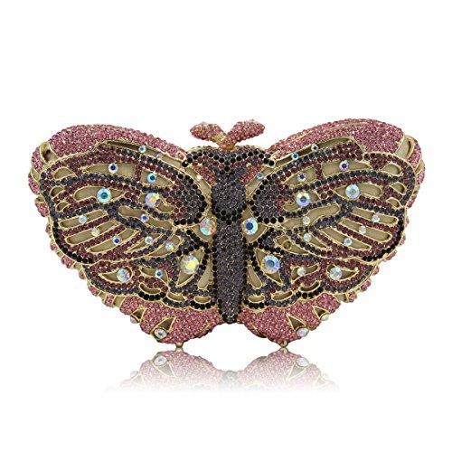 à de monnaie main sac Women's favourite papillon porte soirée Rhinestone coloré sac A 8Uw84gfxXq
