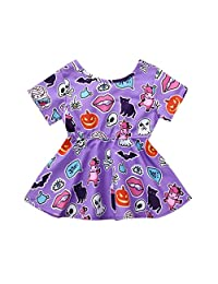 Vinjeely Toddler Baby Girls Ghost Pumpkin Print Halloween Costume Dress Outfits