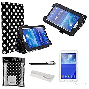 4-in-1 Polka Dots Pattern PU Flip Case Cover Stand Set for Samsung Galaxy Tab 3 Lite 7.0 T110 /T111 (Black)