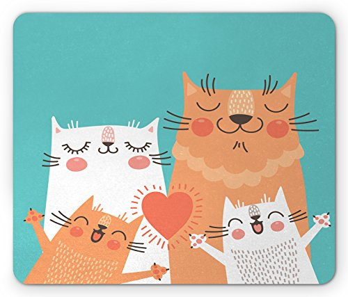 Funny Mouse Pad By Ambesonne  Cute Kitten Couple Sweet Happy Paws Loving Heart With Family Cats Poster Style Animal  Standard Size Rectangle Non Slip Rubber Mousepad  Multicolor