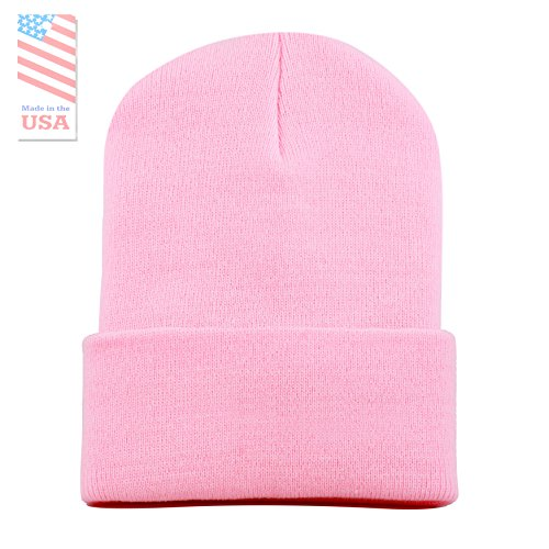 Pink Womens Beanie - THE HAT DEPOT Made In USA Skull Beanie Hat (Pink)
