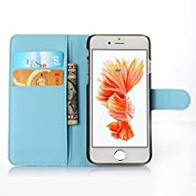 ihpone 6 Case,Hankuke Art Graphic PU Leather Magnet Flip Case with Kickstand and Card Holder for iPhone 6 (4.7-Inch) (blue)