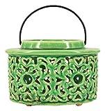 True Grit Ceramic Set Tea Light Decorative Candlestick Holder, Mediterranean Style, Round Base, Yellow/Grren