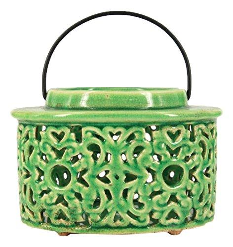 True Grit Ceramic Set Tea Light Decorative Candlestick Holder, Mediterranean Style, Round Base, Yellow/Grren by True Grit