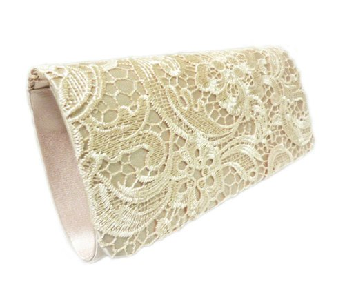 Lined Vintage Clutch (Edelweiss Vintage Lace Front Party Clutch 10-inch with Strap (Champagne))
