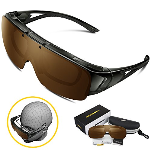 Torege Flip Up Fit Over Sunglasses with Side Shields Polarized Lenses for Driving Fishing Hunting T616 (Transparent Gray& Brown - Lenses Contact Sunglasses
