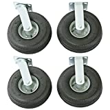 """Wesco Industrial Products 272195 10"""" Diameter Full Pneumatic Wheel Rigid and Swivel Caster, 2500 Pound Capacity, Set of 2 Swivel and 2 Rigid Casters"""