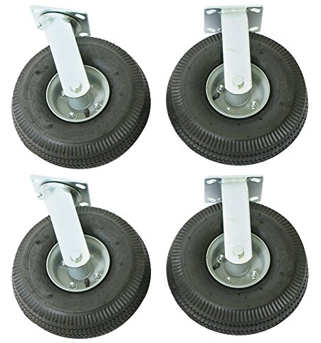 Wesco-Industrial-Products-272195-10-Diameter-Full-Pneumatic-Wheel-Rigid-and-Swivel-Caster-2500-Pound-Capacity-Set-of-2-Swivel-and-2-Rigid-Casters