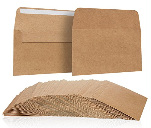 100 Pack, Size A4 Brown Kraft Paper Envelopes Self Sealing (A4 Set)