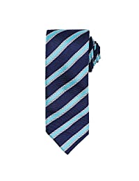 Premier Mens Waffle Stripe Formal Business Tie (One Size) (Navy/ Turquoise)