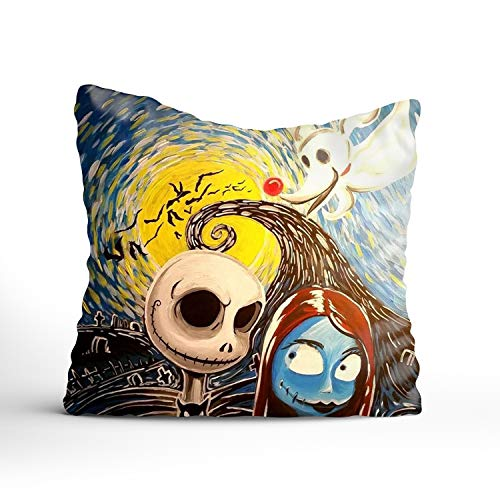 Fornate Decorative Cotton Square Throw Pillow Cases Nightmare Before Christmas Cushion Covers, 18x18 inch ()
