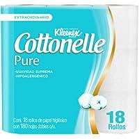 Kleenex Cottonelle Pure Papel Higiénico, Paquete con 18 rollos de 180 hojas dobles, Hipoalergénico con extracto de…