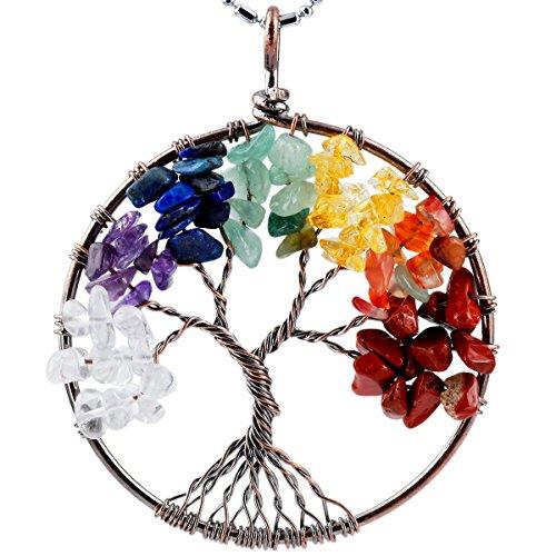 SUNYIK Mixed Stones Eternal Tree of Life Pendant Copper Plated
