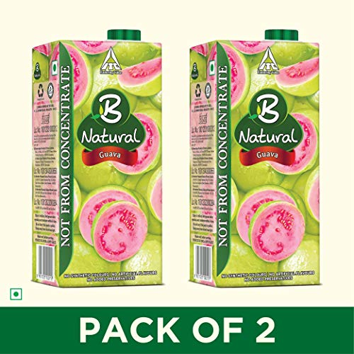 B Natural Guava Juice 1L, (Pack of 2)