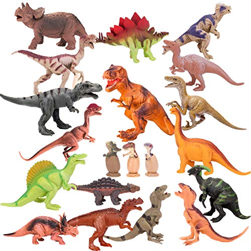Kids Toy 20 Packs Dinosaurs Play Set for Toddlers, Boys Educational Toy Realistic Looking 6 to 10 Assorted Dinosaur Figures with Baby Dinosaur Eggs, Kids Birthday Party Cake Topper and Gift Set