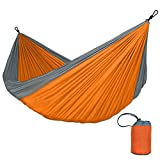 Zxcvlina Single & Double Hammocks Gear for The Outdoors Backpacking Survival Or Travel - Portable Lightweight Parachute Nylon Many Colors with Space-Saving Steel Stand (Color : Orange)
