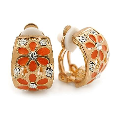 C-shape Crystal, Orange Enamel Floral Clip On Earrings In Gold