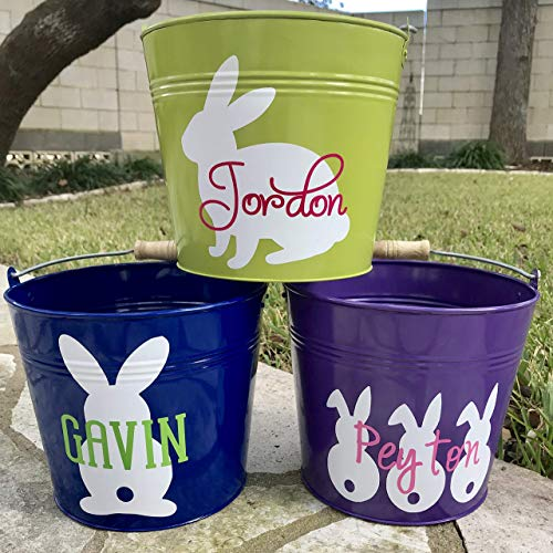 Personalized Metal Easter Basket, Custom Easter Bunny, Easter Pail, Easter Bucket for Boys and Girls, Easter Egg Hunt