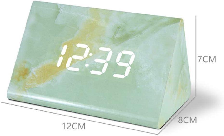Despertador Reloj Despertador LED multifunción Reloj Digital de mármol Control acústico Tiempo de detección Mesa de Noche Reloj de Escritorio