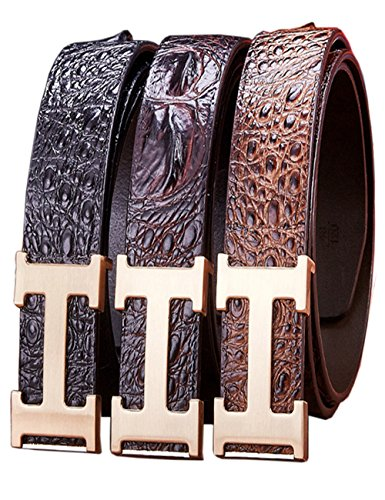 Menschwear Mens Geniune Leather Adjustable Belt with Slide Metal Buckle 38mm