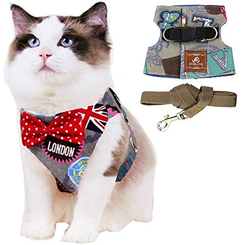 ANIAC Pet Escape Proof Harness and Leash Set with Bow Knot Padded Cat Vest Adjustable Walking Jackets Costume Accessories for Kitten Puppy and Small Dogs (Small(2.2-6.6 LB), Grey)