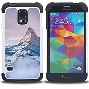 - mountain snow sky high white blue/ H??brido 3in1 Deluxe Impreso duro Soft Alto Impacto caja de la armadura Defender - SHIMIN CAO - For Samsung Galaxy S5 I9600 G9009 G9008V