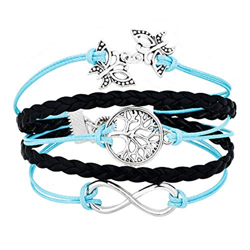 LoEnMe Jewelry Tree of Life Butterfly Animal Bracelet Bangle Leather Charm Blue Braid Fashion Gift ()