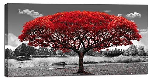 Large Black and White Red Tree Landscape Wall Art for Living Room Big Canvas Print Picture Painting Decoration Modern Framed Artwork for Home Office Bedroom Decor 30x60in