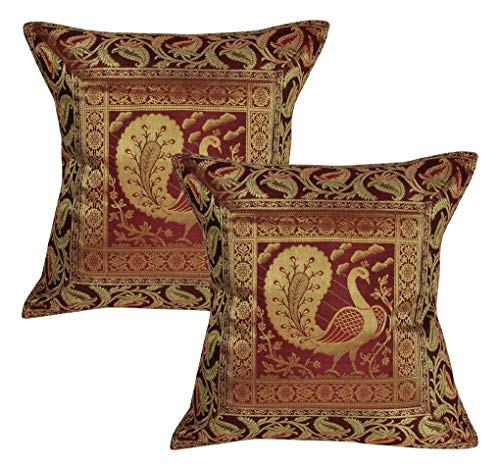Lalhaveli Handmade Maroon Color Silk Cushion Covers 16 x 16 Inch Set of 2 Pecs ()