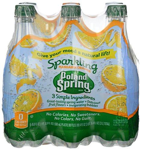 POLAND SPRING Brand Sparkling Natural Spring Water, Mandarin Orange 16.9-ounce plastic bottles (Pack of 6)