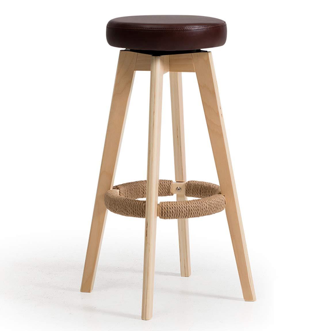 Carl Artbay Bar Chair Bar Chair High Stand Household Solid Wood Bar Stand Modern Simple redary Creative European Chair 74 cm High 6 Strong and Practical