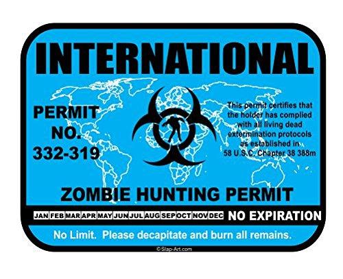 International Zombie Hunting Permit License Vinyl Sticker Decal