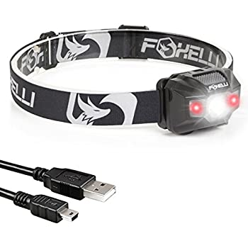 Foxelli USB Rechargeable Headlamp Flashlight - Provides up to 40 Hours of Constant Light on a Single Charge, Super Bright White Led + Red Light, Compact, Easy to Use, Lightweight & Comfortable