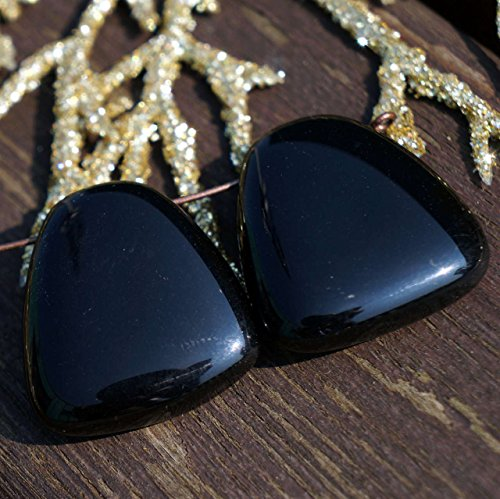 Opaque Black Large Czech Glass Flat Trapezoid Beads Pendant Focal 24mm x 22mm 2pcs