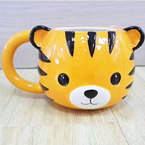 (Orange Stor3 Tea Infuser Mugs Creative Cute Cartoon Animal Milk Coffee Tiger Penguin Bear Ceramic Drinkware Hand-Painted Gift)