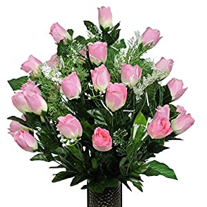Stay-In-The-Vase Artificial Cemetery Flowers for Outdoor-Grave-Decorations - Pink-Rose Bud Bouquet Lush Fake Flowers, Non-Bleed Colors, with Design 120