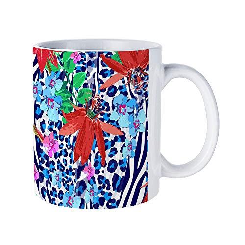 - DKISEE Tropical Leopard Coffee Mug Novelty 11oz White Ceramic Mug Birthday Christmas Anniversary Gag Gifts Idea