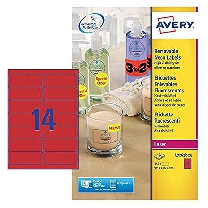 Avery L6007-20 Etichette Fluorescenti, Verdi, 1 Etichetta per Foglio, 20 Fogli, 210 x 297, Verde