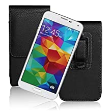 Kingsource (TM) Samsung Galaxy S5 Black Vertical Belt Clip Holster pouch leather Case with Belt loop Fits With Otterbox Case / SGP Amor/UAG/Lifeproof Case / Thick Armor Hybrid Case On (Samsung Galaxy S5)