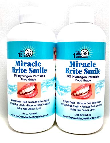 Miracle Write Smile Mouthwash - 2 Bottles with 3% Hydrogen Peroxide Food Grade, Peppermint, Lemon, Clove Leaf, Cinnamon and Rosemary