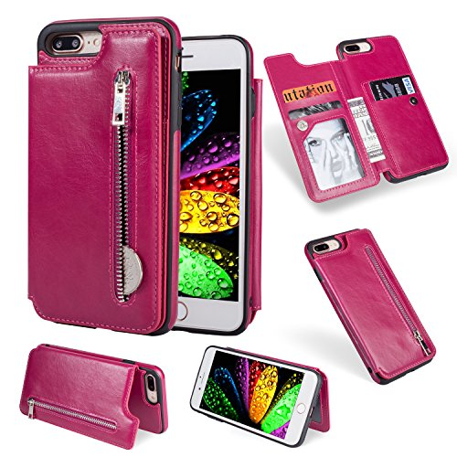Wallet Case for iPhone 8 Plus,iPhone 7 Plus Case,Magenta PU Leather Stand Case,Ostop Credit Card Holder Zipper Purse Slim Fit Magnetic Clasp Flip Folio Cover with Cash Pocket Soft TPU ()