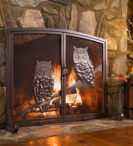 44w X 12 5d X 33h Plow Hearth Large Owls Fireplace Screen With Two Doors
