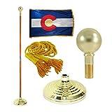 Colorado 3ft x 5ft Flag, Flagpole, Base, and Tassel (Parade Ball, 7 Ft Oak Pole)