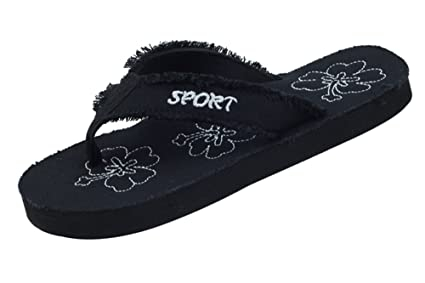af4c82225 Image Unavailable. Image not available for. Color  Women s Black  Lightweight Canvas Thong Sandal ...