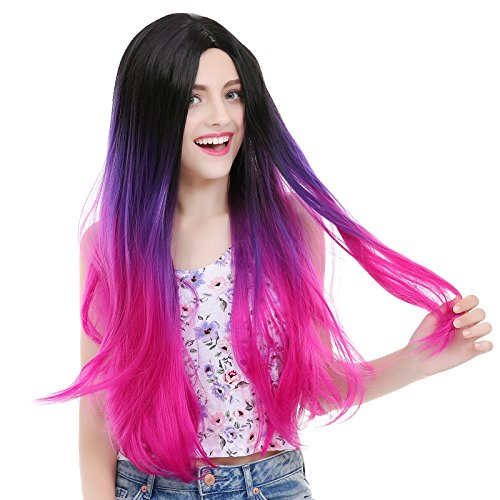 Fan Expo Costumes (Angelaicos Womens Two Tone Sexy Nightclub Daily Party Full Wig Long (Purple Rose Red))