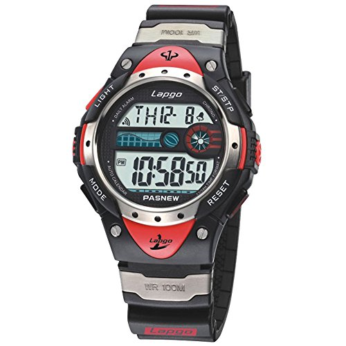 Boys Watches, LCD Digital Watches, Waterproof 100m Fashion Unisex Multifunction Sports Watches Strap Purplish Red